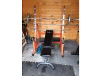 Weights Rack + Bench + Weights