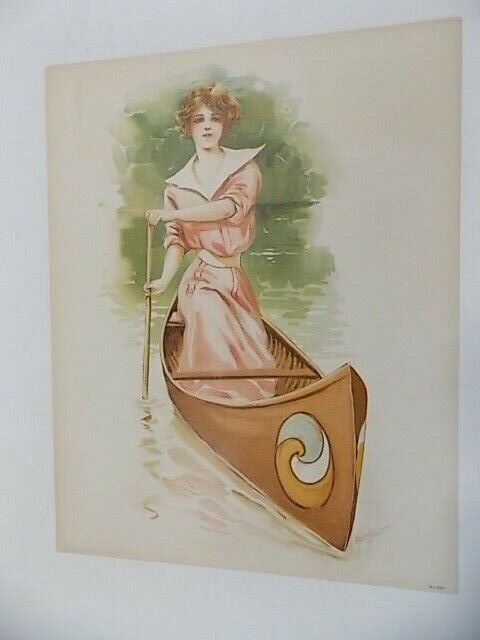 Vintage Victorian Lithograph Lady In Canoe 80F Maud Stumm - $15.95