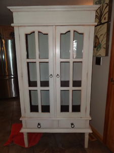 French Country Old White Display Cabinet