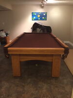 Custom made solid oak/slate pool table