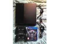PlayStation 4 with 2 controllers and Diablo