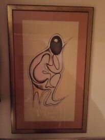 Framed large picture of mother and child painted on cloth, framed and glazed