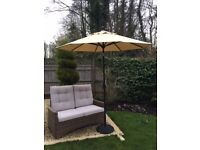 Two Seater Rattan Sofa and Parasol