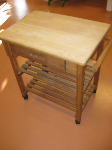 Solid Wood Butcher Block Table Cart
