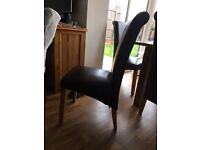Set of 6 Dining Chairs. Chocolate Brown Faux Leather