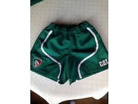 BNWOT Genuine Canterbury *LEICESTER TIGERS RUGBY UNION* Shorts Size 26 Players Gym Green