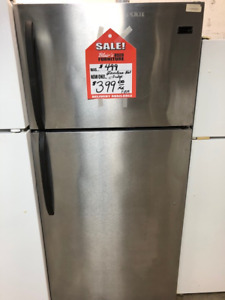 `7 CUBIC FOOT STAINLESS STEEL FRIDGE; EXCELLENT CONDITION