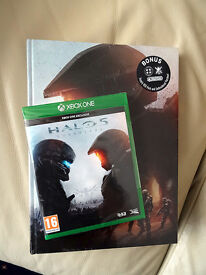 XBOX One Halo 5 Guardians, NEW. Collectors Edition with book, patches and Req Supply.