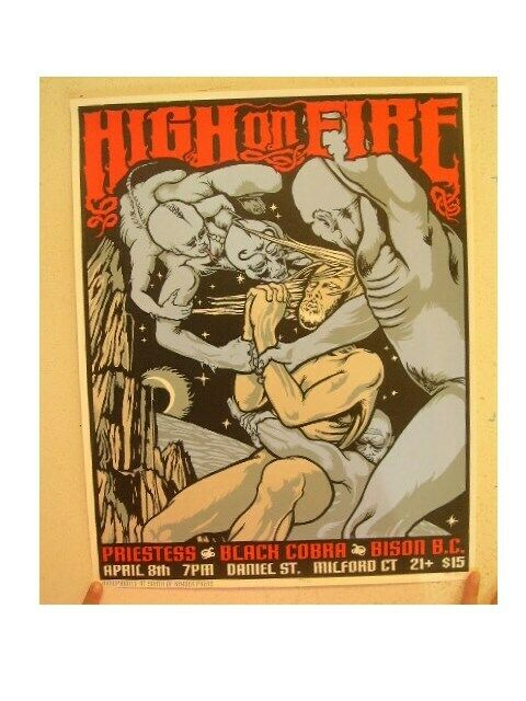 High On Fire Poster Signed And Numbered By Artist Priestess Black Cobra Bison BC