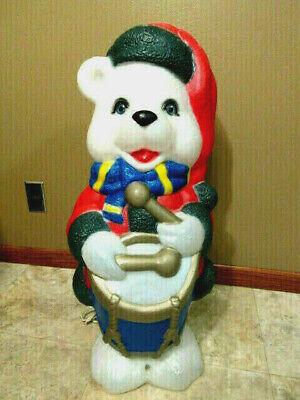 "Vtg 1996 ""TPI"" Christmas Drummer Teddy Bear Lighted Blow Mold - 29"" Tall"