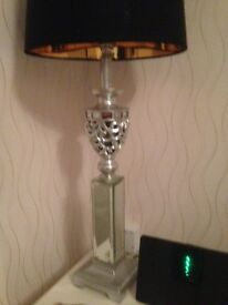 Silver table lamp with black shade