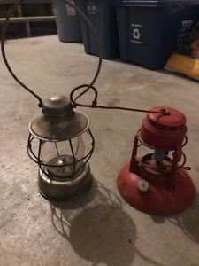Two Old Antique Railroad Lanterns - Cool Idea for Christmas!