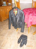 Leather Motorcycle Jacket and boots