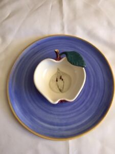 """Clayworks Pottery Apple Dip Serving Dish approx 12"""" across"""