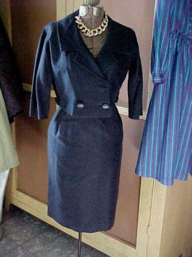 NAN DUSKIN NAVY BLUE DRESS SUIT VINTAGE 1960s Two Piece Jacket & Slim Skirt S XS