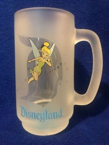 Disneyland Tinker Bell Frosted Glass Mug  NEW Excellent RETIRED