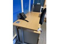 3 x Desks, 4 x pedelstals, 3 x office chairs - good condition starting from £15