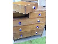 Solid limed oak up-cycled, 5-drawer chest. 8 hand-painted knobs. v sturdy, dove tail joints