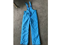 Ladies vintage turquoise salopettes Ski Trousers size 12 / 40 inch; 102 cms