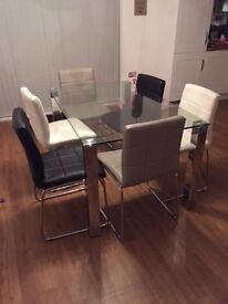 Glass Dining Room Table with 6 Chairs 12 months old - Excellent Condition