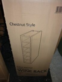 CHESTNUT STYLE & WHITE FLAT PACK KITCHEN UNITS CABINETS Cooke & Lewis 150mm x 900mm Wine Rack