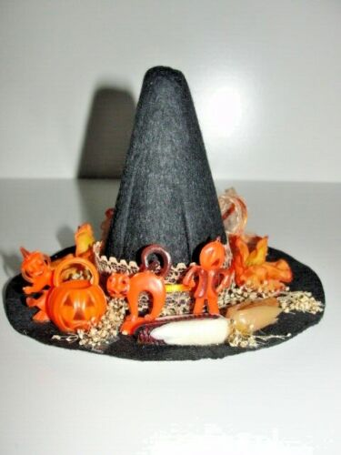 "VTG Halloween Witch Hat Spooky Jack o  Homemade Table Decoration 4 1/2""H x 6""D"