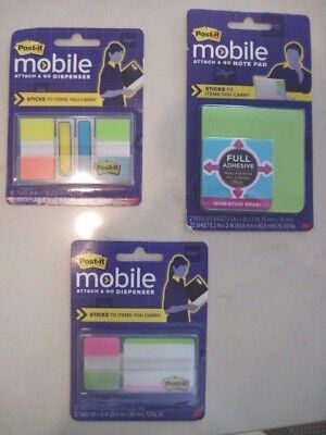 Post-it Mobile Attach And Go Green Note Pad Tabs Flags Lot Of 3 New