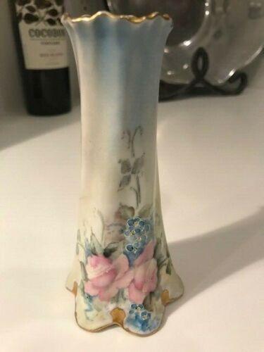 Antique Vintage BAVARIA Hand Painted Pink Roses Gold Leaf SHAKER HAT PIN HOLDER