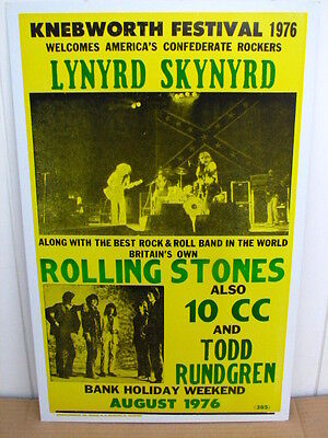 Vintage Rolling Stones  Lynyrd Skynyrd Concert Poster 1976 Tour