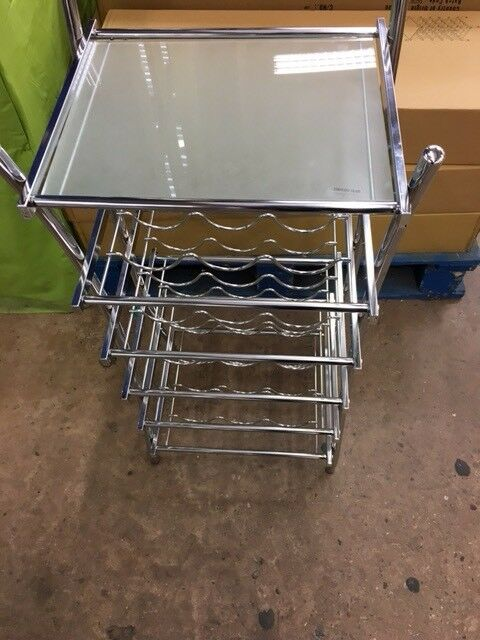 Brand New Metal Wine Rack With Glass Shelf