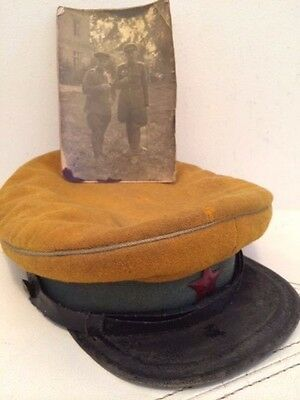 WW2 Russian  army RKKA NCO visor cap.Model 1935.Photo of the owner. Orig.