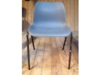 Grey Plastic Stacking *OFFICE CHAIR* Garage Playroom Spare Occasional