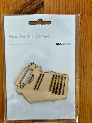 Kaisercraft Typewriter Wooden Flourishes, FL415, 2mm ply wood
