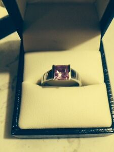 Sterling Silver Square cut pink stone ring