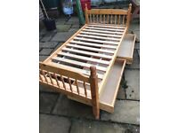 Single slatted bed with two under drawers