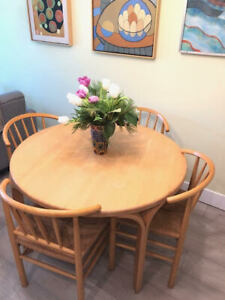 New LOWER PRICE! MCM Danish Dining Table and 4 Chairs with Woven