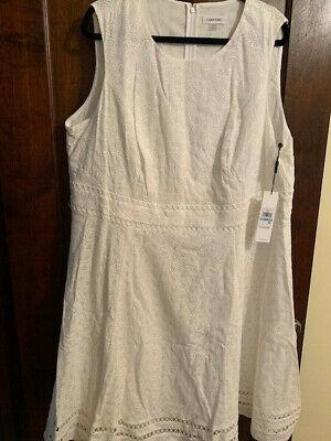 Calvin Klein Cotton Cream Sleeveless Dress 18W/20W NWT Retails for $134.00