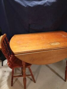 Vintage Wooden Folding Table with Removable Legs and One Chair