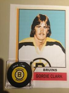 Gordie Clark NHL Boston Bruins autograph puck