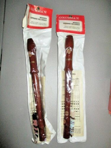 1 Vintage 1 Piece Wood Soprano Recorder By COLUMBIA in West Germany  NEW in Bag