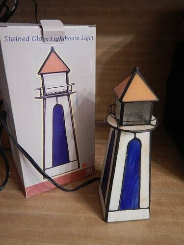 New  Stained Glass LIGHTHOUSE Light  Lamp  NIB