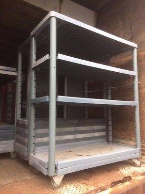 Stock Carts 4 Tier Used Rolling Warehouse Backroom Store Fixtures Equipment Rack