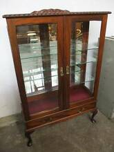 C5038 Vintage Mahogany Queen Anne China Display Cabinet Piecrust Mount Barker Mount Barker Area Preview