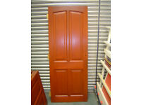 4 Internal Mahogany 4 panel doors and 1 Similar Cupboard Door