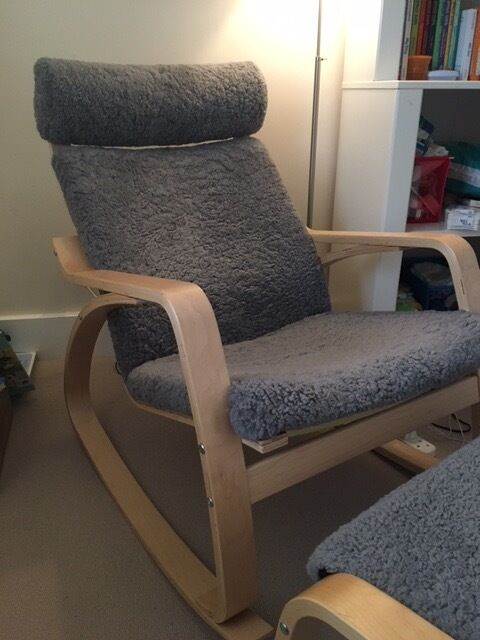 Ikea poang rocking chair with footstool in clapham for Childrens rocking chair ikea