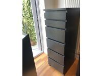 Chest of drawers - 6 drawers with mirror top - black/brown