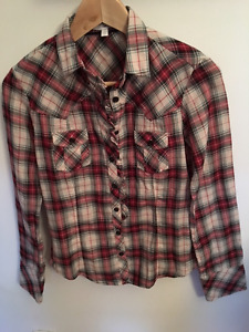 Gap extra small red white and blue-green plaid 100% cotton