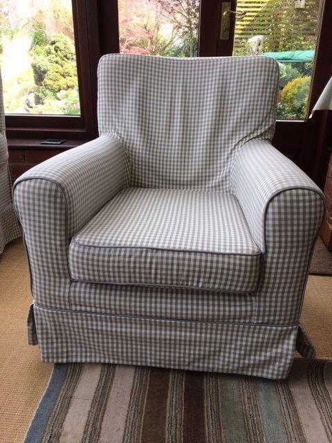 2 X Ikea Ektorp Jennylund Grey Gingham Check Armchairs