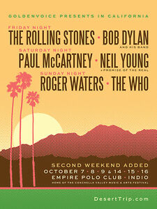Desert Trip - 7th - 9th October 2016 - Pair of Tickets