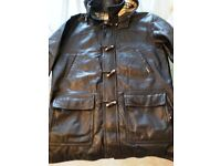 BURBERRY MENS HEAVY BLACK LEATHER DUFFAL COAT, Large, VINTAGE 90'S HOODED
